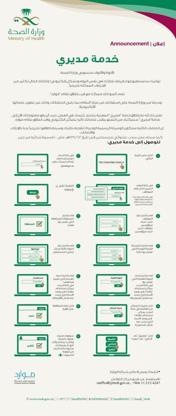 نظام موارد وخدمة مديري عبر البوابة الالكترونية حركة النقل لمنسوبي وزارة الصحة